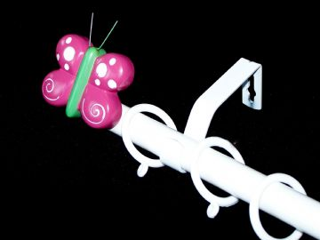 1.2m - 2.1m Extendable Curtain Pole with PINK BUTTERFLY Finials